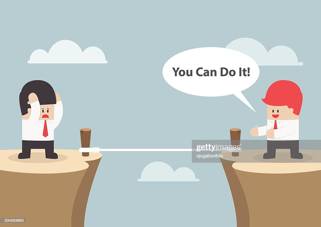 Businessman motivate his friend to cross the cliff