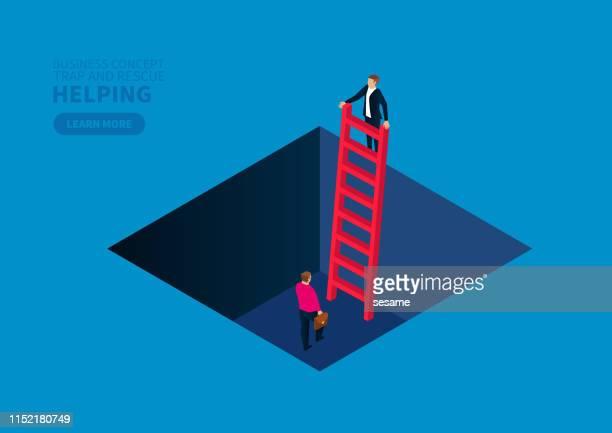 罠で仲間を救出するためにはしごを動かすビジネスマン - 支える点のイラスト素材/クリップアート素材/マンガ素材/アイコン素材