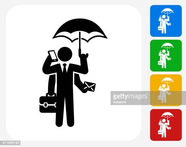 Businessman Multitasking Icon Flat Graphic Design