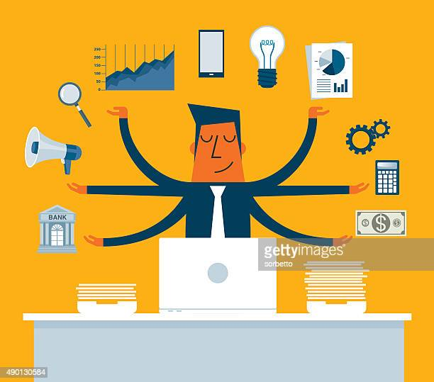 Businessman Multitasking with Multiple Arms