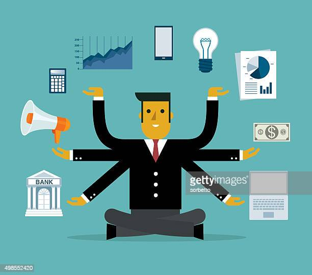 businessman multitasking with multiple arms - money manager stock illustrations, clip art, cartoons, & icons