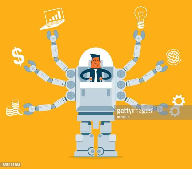 Businessman Multitasking with Robot