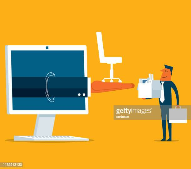 businessman - new job - desktop pc - condition stock illustrations