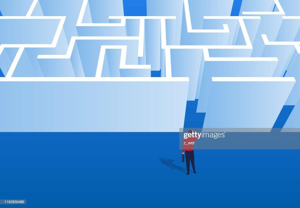 Geschäftsmann beobachtet am Labyrinth-Eingang : Stock-Illustration