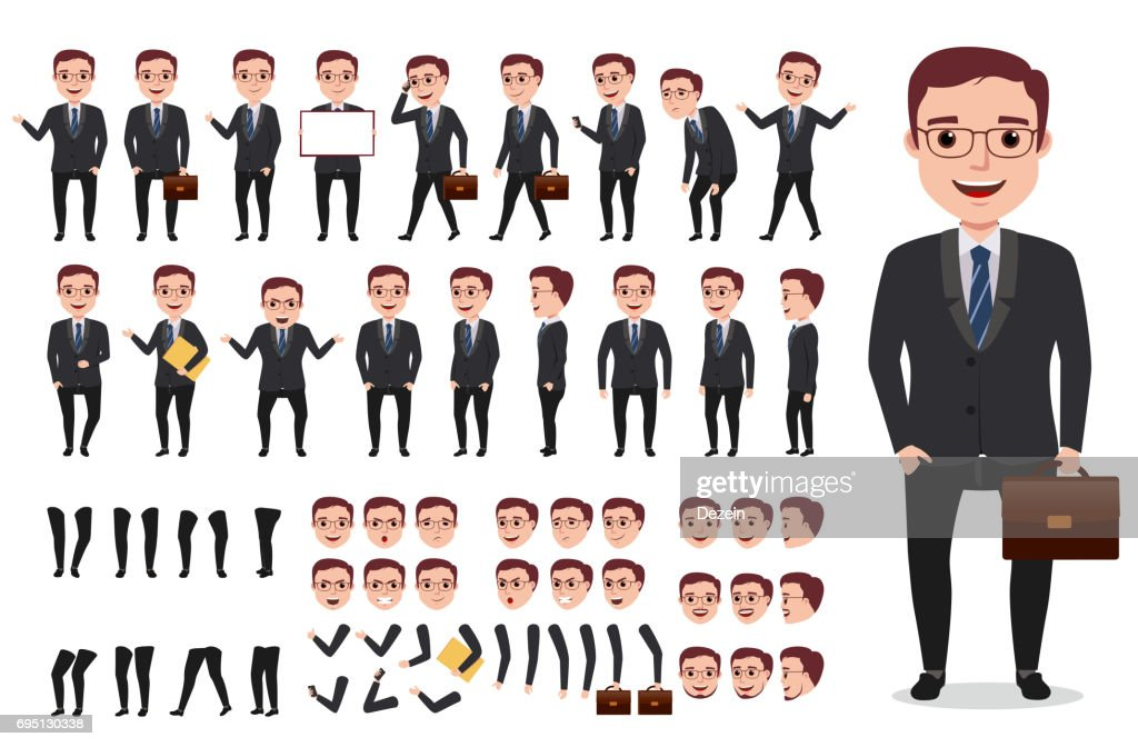 Businessman office male vector character creation kit. Set of characters
