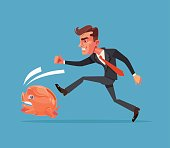 Businessman office worker character chase following running after piggy bank. Financial crisis