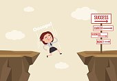 Businessman office worker woman character jumps over ravine and fall down. Fail concept