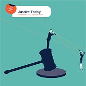 Businessman on a hammer of justice with spyglass and businesswoman