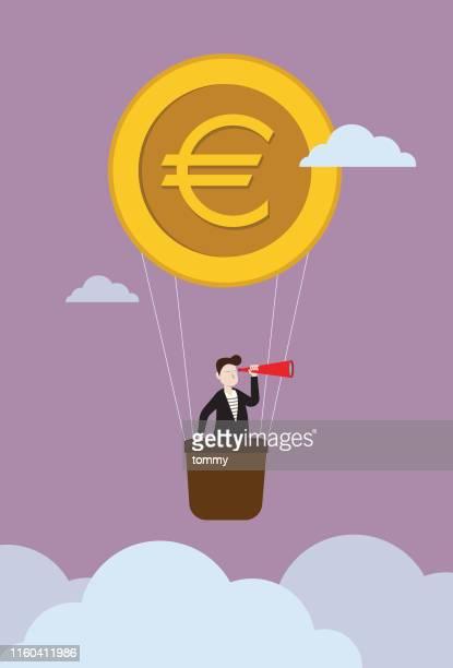 ユーロコインバルーンのビジネスマン - ユーロ通貨記号点のイラスト素材/クリップアート素材/マンガ素材/アイコン素材