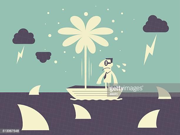 Empresário em barco, rodeado por fuga de Tubarão, trovoada e Reduzir