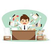 Businessman on office worker vector illustration