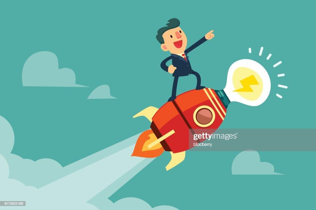 businessman on rocket with idea light bulb