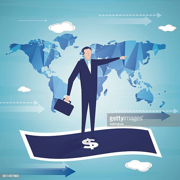 businessman on the flying cash - cash flow stock illustrations, clip art, cartoons, & icons