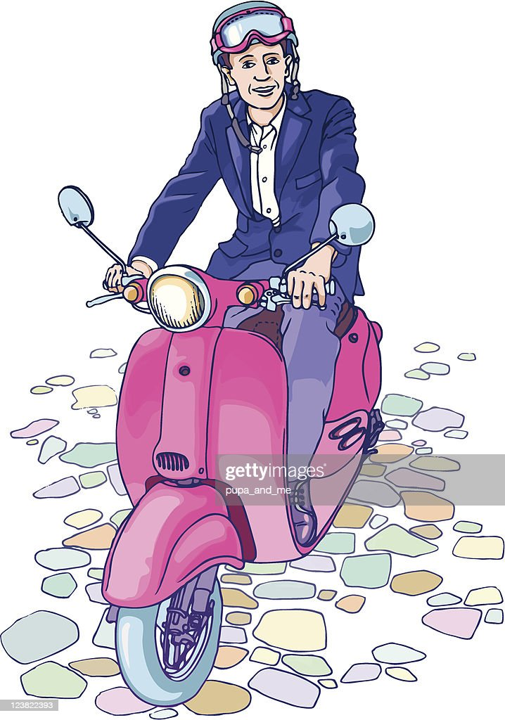 Businessman on the scooter