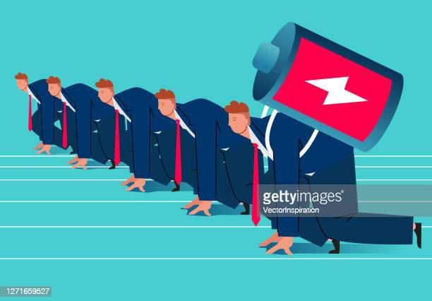 a businessman on the starting line with a huge battery on his back is ready to start - forward athlete stock illustrations