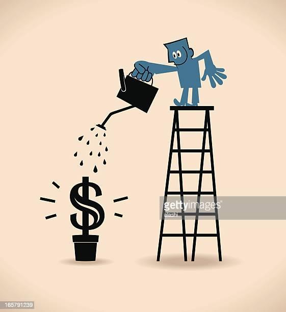 businessman on top of ladder, watering money plant - money tree stock illustrations, clip art, cartoons, & icons