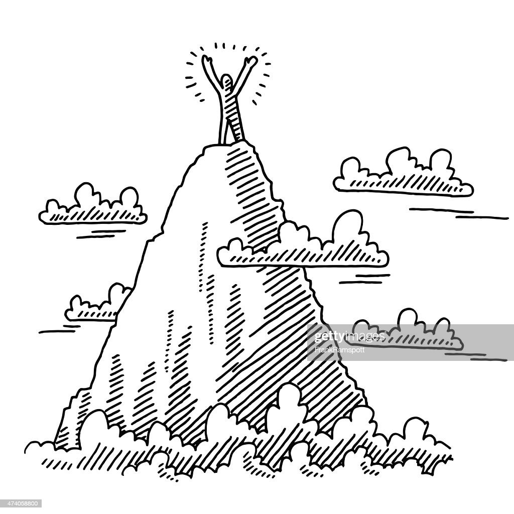Businessman On Top Of Mountain Drawing