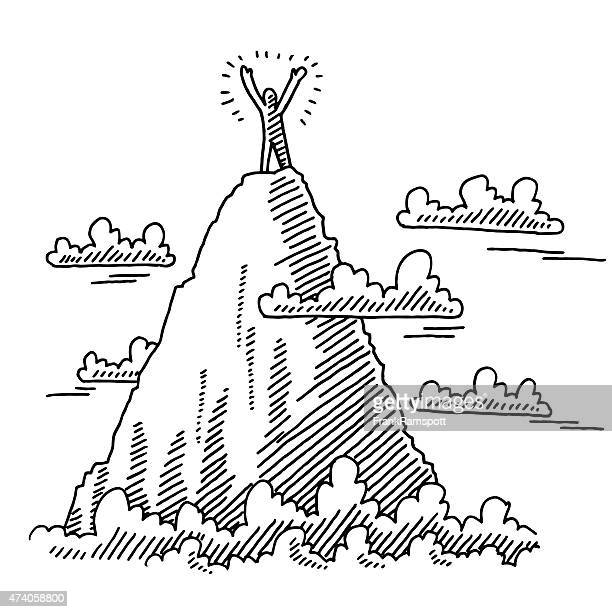businessman on top of mountain drawing - rock climbing stock illustrations, clip art, cartoons, & icons