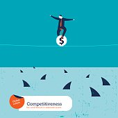 Businessman on unicycle on a tightrope with sharks