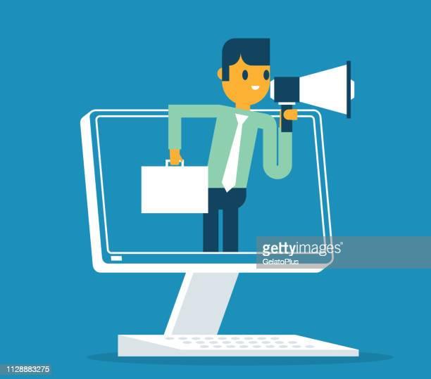 businessman - online promotion - announcement message stock illustrations