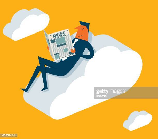 Businessman online reading news