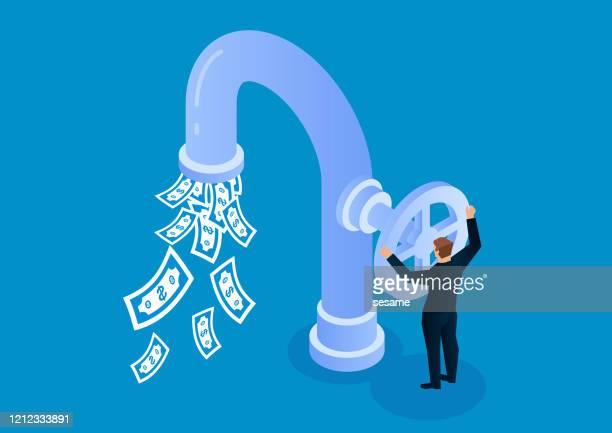stockillustraties, clipart, cartoons en iconen met de zakenman opent kraanklep om gelduitstroom te controleren - bankieren