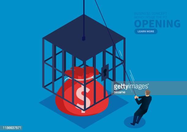 businessman opens the money bag locked inside the cage - prisoner vector stock illustrations