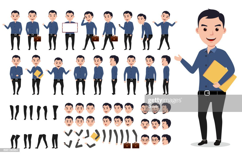 Businessman or male vector character creation set. Professional man