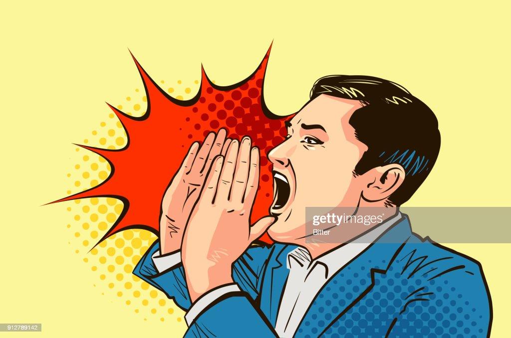 Businessman or man shouting, drawn in pop art retro comic style. Cartoon vector illustration