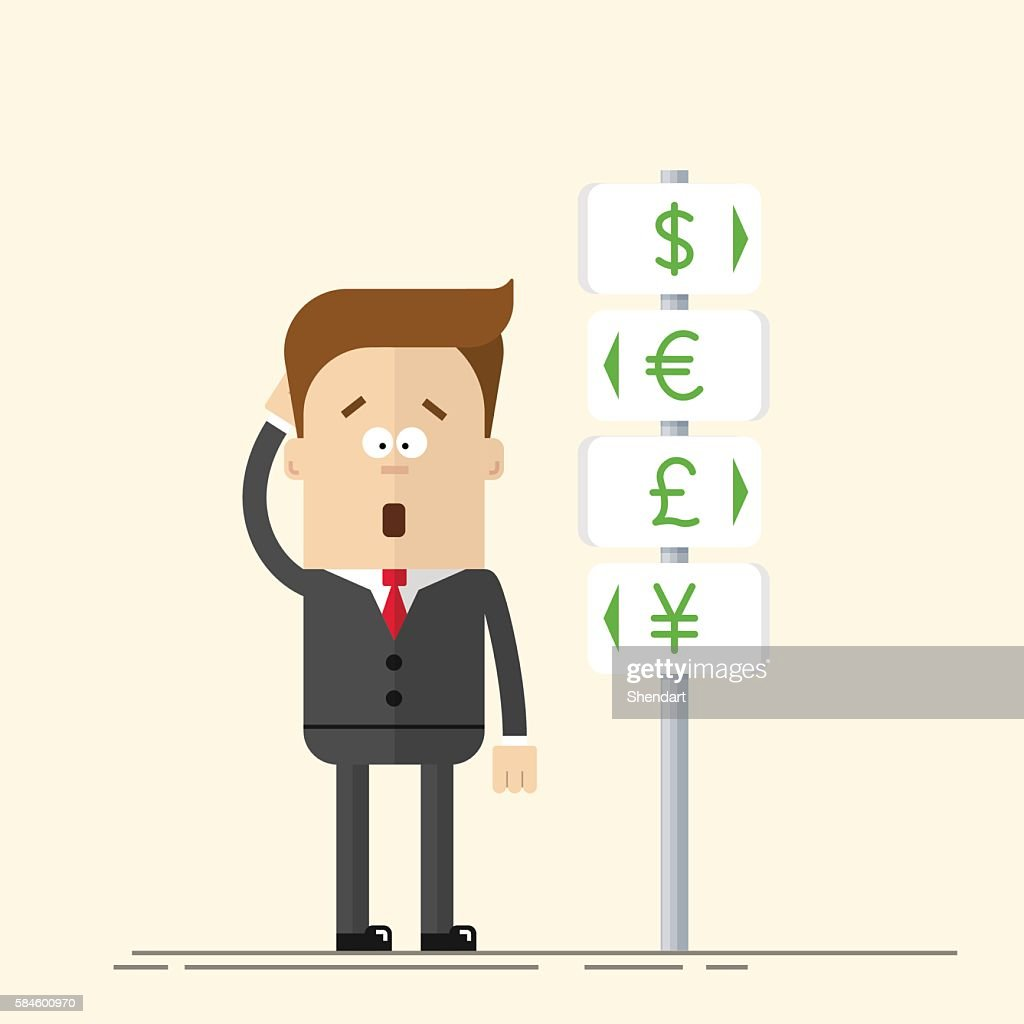 Businessman or manager has the choice of currency. Signs  global