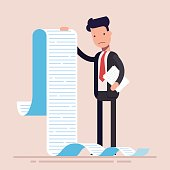 Businessman or manager, hold a long list or scroll of tasks. or questionnaire. Man in a business suit. Flat character. Vector illustration