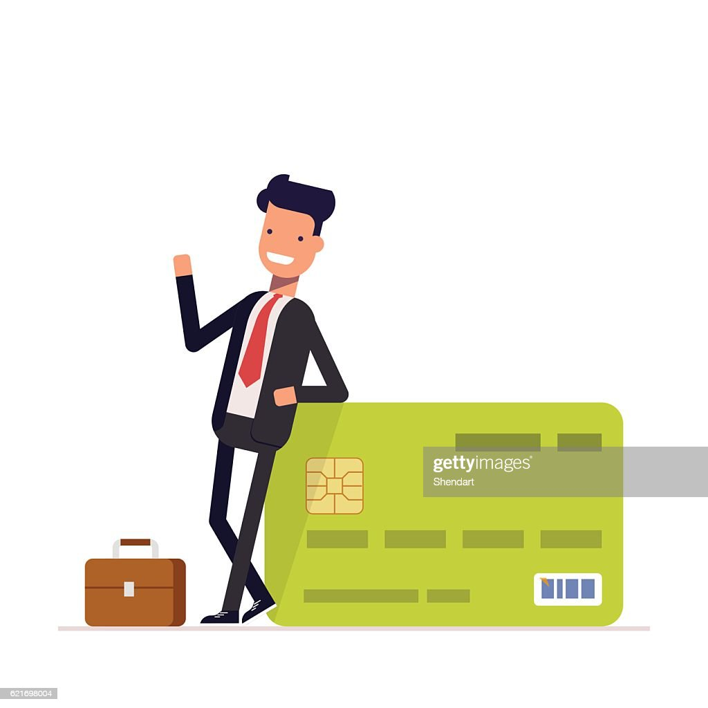 Businessman or manager standing near a big salary credit card