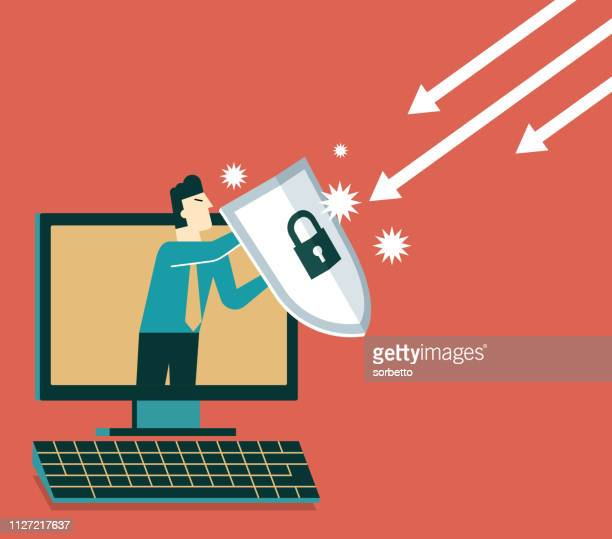 businessman out from a computer with a shield - antivirus software stock illustrations