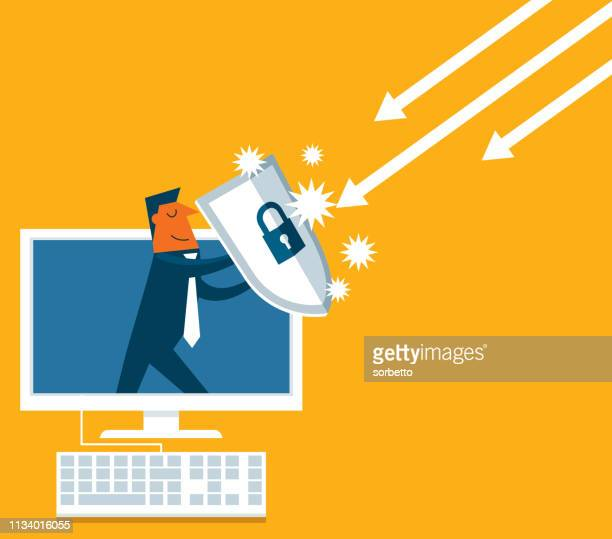 businessman out from a computer with a shield - shield stock illustrations