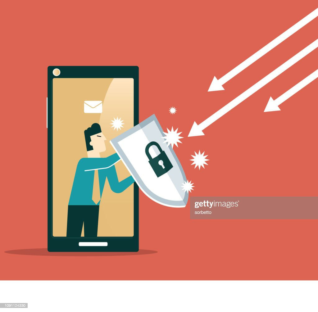 Businessman out from a smart phone with a shield : Stock Illustration
