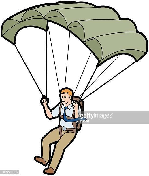 businessman parachuting - paratrooper stock illustrations, clip art, cartoons, & icons