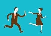 Businessman Passes Baton to Businesswoman | New Business Concept