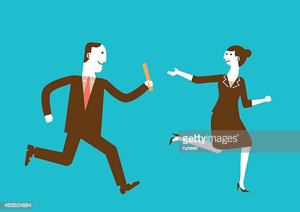 businessman passes baton to businesswoman | new business concept - former stock illustrations, clip art, cartoons, & icons