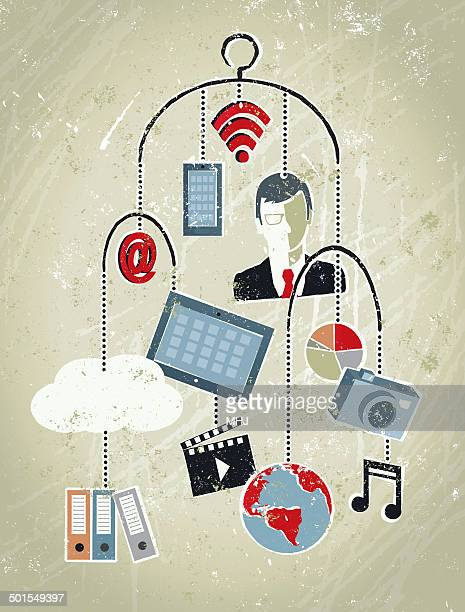 Businessman, Phone, Tablet, Globe, Cloud and Icons. Mobile Data