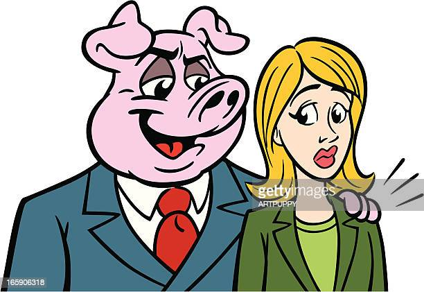 businessman pig with woman - sexual harassment stock illustrations, clip art, cartoons, & icons