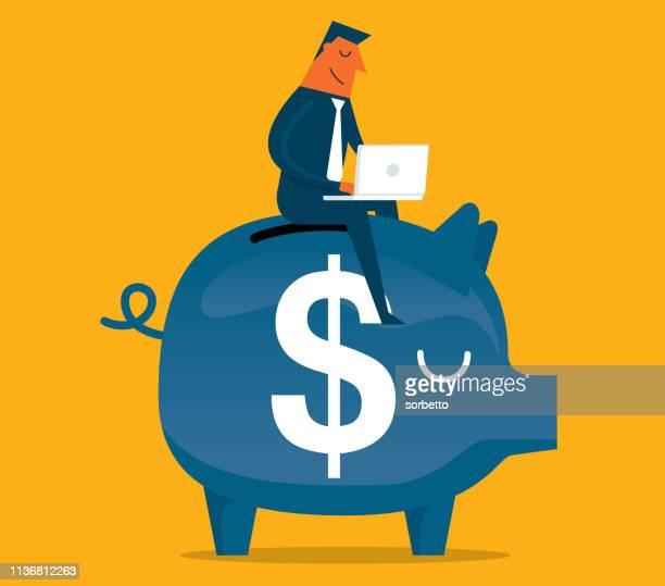 ilustrações, clipart, desenhos animados e ícones de homem de negócios-banco piggy-investimento - cotação de juros