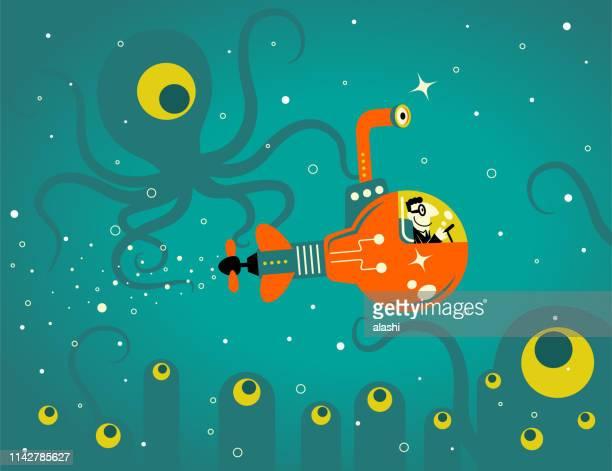 Businessman piloting an idea light bulb submarine in the deep sea