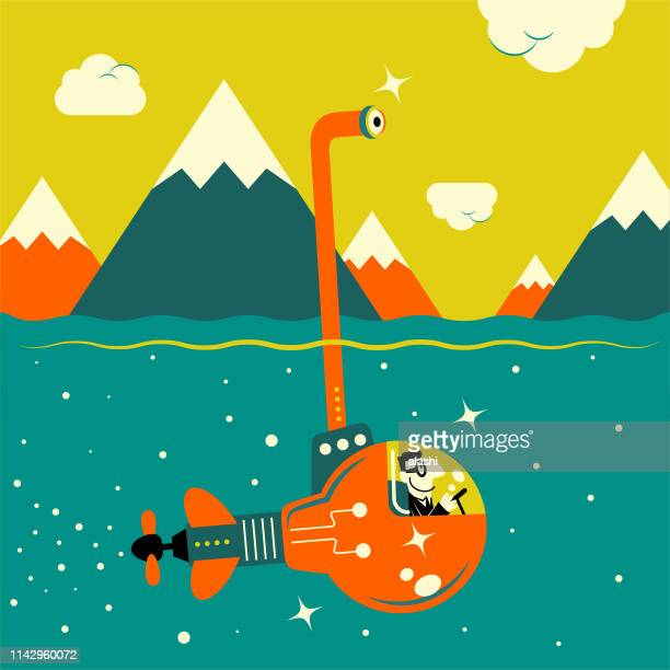businessman piloting an idea light bulb submarine in the sea and looking through an periscope - point of view stock illustrations