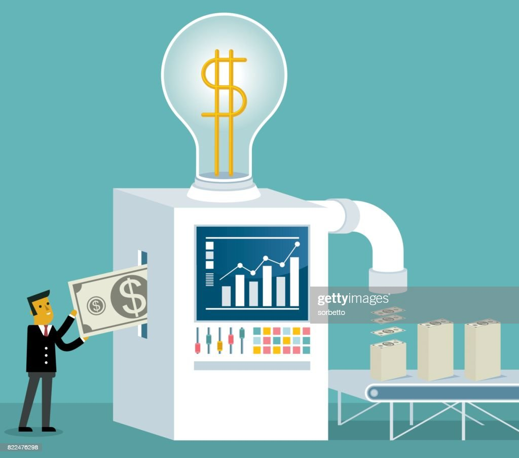 Businessman places a currency inside a machine : stock illustration