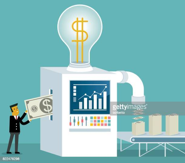 ビジネスマンは、マシンの内部の通貨