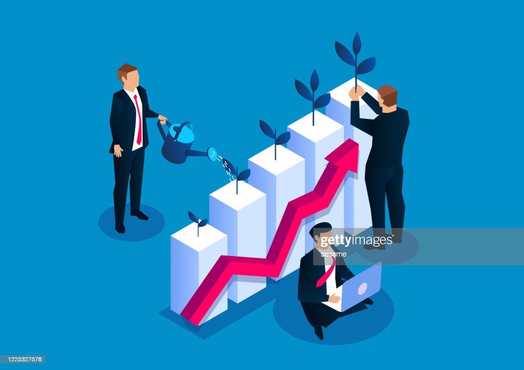 Zakenman die kleine jonge boomplant op het water geven staafgrafiek, de groei van de bedrijfsinvesteringinkomen, uw zaken kweekt : Stockillustraties