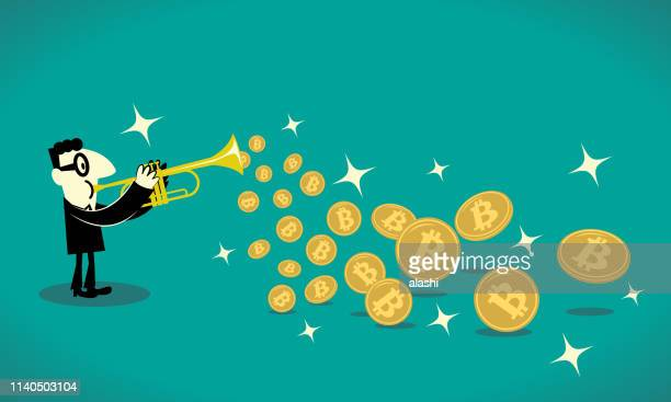 businessman playing trumpet and a lot of bitcoin cryptocurrency flying out - musician stock illustrations, clip art, cartoons, & icons