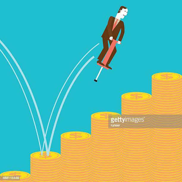 Businessman Pogostick Jumping on Coins | New Business Concept