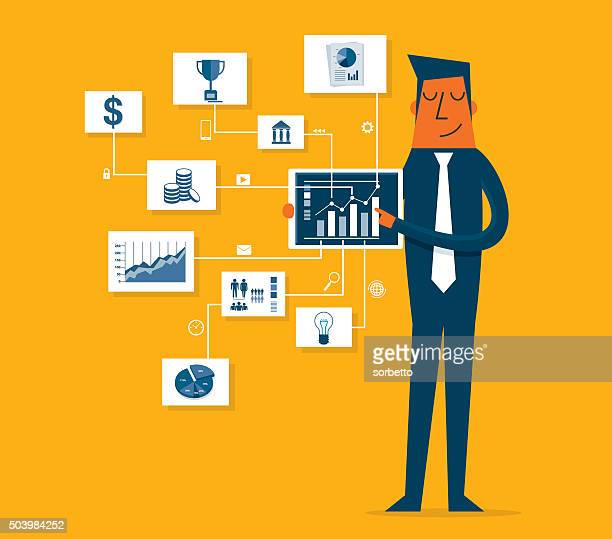 Businessman pointing at chart and presentation