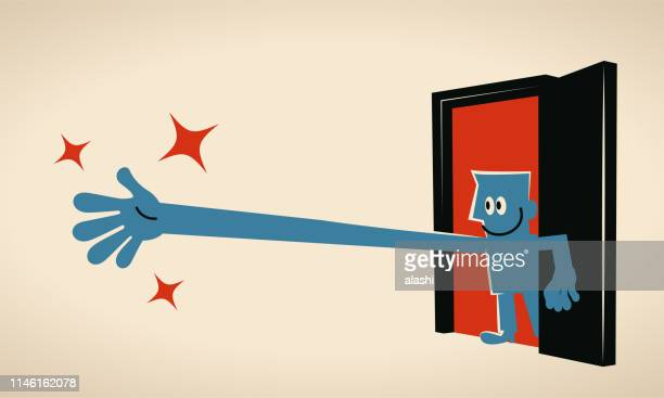businessman poking his head through a doorway and stretching hand to reach for somewhat - stretching stock illustrations